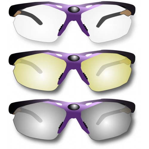 Vapro Sport protection glasses with clear, dark and yellow lens in a hard case